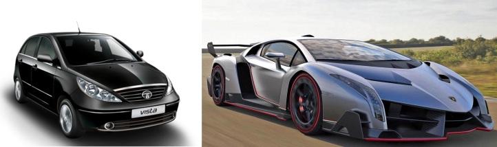 Tata Vista vs. Lamborghini Veneno