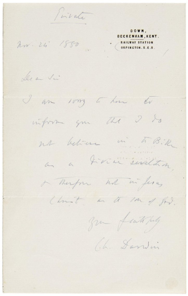 Darwin Letter Auction